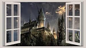 Huge 3d Window Wall Art Sticker Harry Potter Hogwarts 2 Decal Vinyl Wallpaper A2 114cm X 65 Cm Amazon Co Uk Diy Tools