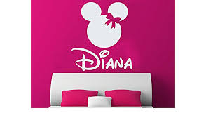 Amazon Com Girl Name Wall Decal Nursery Vinyl Sticker Personalized Decals Minnie Mouse Nursery Wall Decor Kids Room Childrens Bedroom Ns1026 Home Improvement
