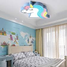 Unicorn Kids Room Light Led Ceiling Lights With Remote Control Cartoon Lampshade Children Room Cute Ceiling Lamp Deco Child Room Ceiling Lights Aliexpress