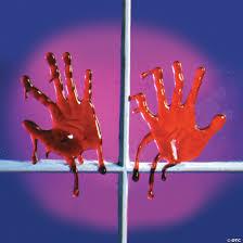 Bloody Handprint Window Clings Oriental Trading