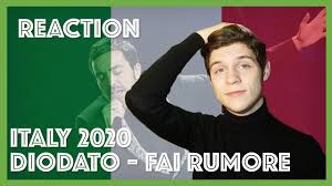 REACTION Diodato - Fai Rumore, Eurovision Italy 2020 - YouTube