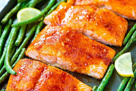 brown sugar baked salmon with green beans