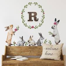 Bunnies And Leaves Watercolor Wall Stickers