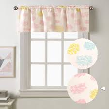 Amazon Com Jinchan Kids Room Valances Cloud Printed Nursery Room Living Room Bedroom Rod Pocket Valance Window Treatments 50 X18 1 Panel Pink Home Kitchen