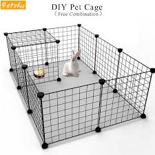 Petshy Diy Pet Fences Dog Cage Playpen Iron Net Cat Puppy Kennel House Free Combination Animal Bird Rabbit Playing Sleeping Room Houses Kennels Pens Aliexpress