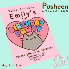 Pusheen Theme Party Invitation By Ohwowdesign On Etsy Fiesta De