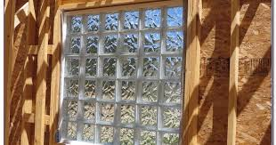 glass block window in wood frame