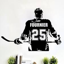 Custom Hockey Player Number Name Vinyl Decal Window Sticker Car