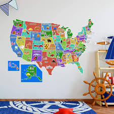 Vwaq Us Map Wall Decal United States Of America Sticker Peel And Stick Kids Decor Hol44 Walmart Com Walmart Com