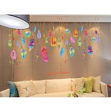 Kaimao Colorful Creative Dream Catcher Feathers Wall Stickers Art Decal Murals Removable Wallpapers For Home Decoration Wall Stickers Murals Olivia Decor Decor For Your Home And Office