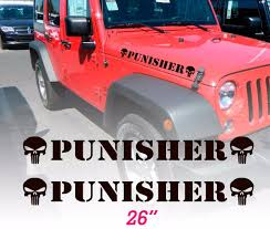 Product Set Of 2 Punisher Skull Hood Vinyl Decals Stickers For Wrangler Rubicon Sahara