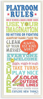 Amazon Com The Kids Room By Stupell Playroom Rules Colorful Typography White Blue Green And Red Wall Plaque Art 7x17 Gray Framed Giclee Home Kitchen