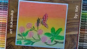 cara menggambar mudah dan gampang menggunakan crayon gambar kupu
