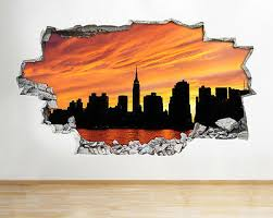 Wall Stickers New York City Scene Nyc Night Sunset Decal Poster 3d Art Viny A155