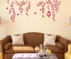 Border Design Bedroom Hanging Vines With Cage And Birds Staircase Design In Lovely Pink Wall Stickers Wall Decals Decalsdesignindia