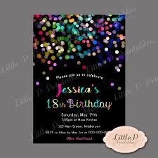 18th Birthday Invitation Sprinkles Confetti Por Littlepprintables