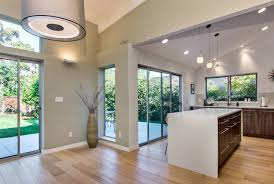 sloped ceilings midcentury kitchen