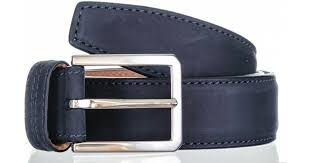 black navy italian nubuck leather belt