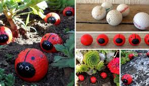 golf ball ladybugs to rock your garden