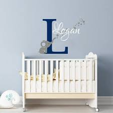 Elephant Wall Decal Name Wall Decals Nursery Baby Room Decor Etsy