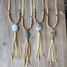 large stone leather tassel necklace