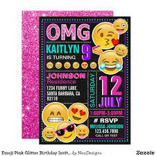 Emoji Pink Glitter Birthday Invitation Zazzle Com Fiesta De