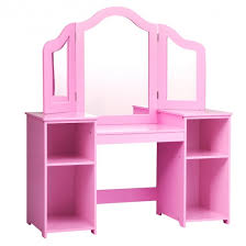 Kids Vanity Table 2 In 1 Detachable Design With Dressing Table And Writing Desk Makeup Dressing Table With 4 Large Storage Shelves Dressing Table With Plastic Three Panel Mirror For Kids And Girls