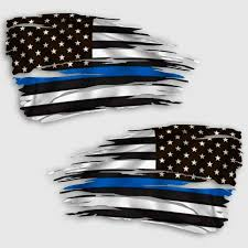 Tattered Thin Blue Line Flag Decal Distressed Police Law Sticker
