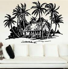 Bayou Breeze Nitin Beach House And Palm Trees Wall Decal Wayfair