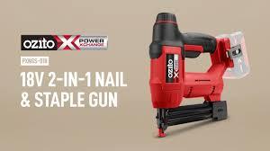 Ozito Pxc 18v Cordless 2 In 1 Nail Staple Gun Skin Pxngs 018 Youtube