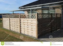 Wooden Fence Terrace Fence Wooden Fence With Privacy Lattice Screen Stock Photo Image Of Private Wooden 124008154