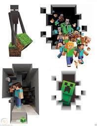Lot Of Huge Minecraft Vinyl Wall Sticker Decal Steve Enderman Creeper People 1754188925
