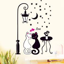 Hot Home Decor Living Room Bedroom Wall Stickers Lovers Cat Street Lights Wallpaper Black White Cat Sticker Aug10 Baby Wall Decal Baby Wall Decals From Supper007 2 23 Dhgate Com