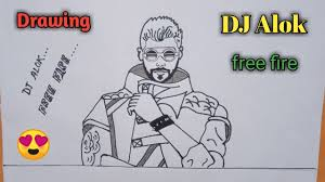 dj alok character drawing free fire
