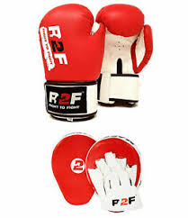 boxing gloves and focus pads set hook