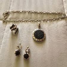 set of kali black sapphires in sterling