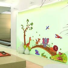 Kawaii Big Jungle Animals Bridge Pvc Wall Stickers Kids Bedroom Wallpaper Decals Children Bedroom Nursery Decoration Wall Stickers Aliexpress