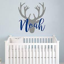 Amazon Com Personalized Boy Name With Deer Antlers Wall Decal Nursery Rustic Nursery Wall Decor Deer Head Wall Vinyl Sticker Baby Name Hunting Themed Woodland Wall Decor Custom Name Wall Decals For Boys
