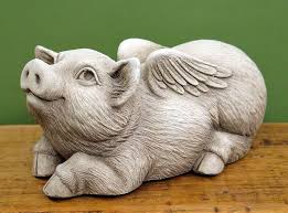 when pigs fly sculpture aged stone
