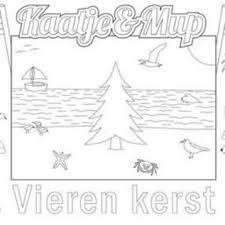 Kleurplaat Placemat Kerst Kerstboom Op Strand Per Stuk