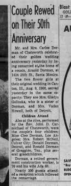 Carlos Dorman and Ada Stewart Dorman 50th anniversary - Newspapers.com