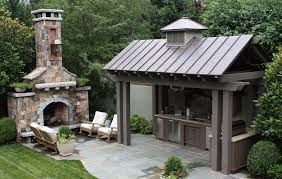 outdoor fireplace and outdoor kitchen