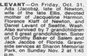 Obituary for Ada LEVANT - Newspapers.com