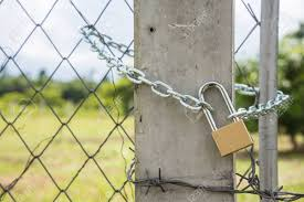 Close Up The Gate Fence Locked With Metal Chain And Padlock Stock Photo Picture And Royalty Free Image Image 84874937