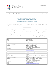 G/TFA/N/TTO/3 18 April 2019 (19-2591) Page: 1/2 Committee on Trade  Facilitation Original: English NOTIFICATION UNDER ARTICLE 22.