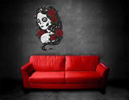 Sugar Skull Wall Decor Ikea Punisher Decal Art Vinyl Sticker Look Uk Vamosrayos