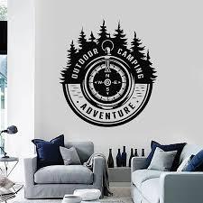 Outdoor Camping Wall Decal Adventure Words Travel Fir Tree Forest Vinyl Sticker Compass Art Mural Bedroom Home Decor S1341 Wall Stickers Aliexpress