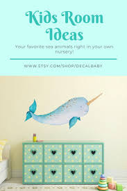Baby Narwhal Wall Decal Sticker Ocean Sea Unicorn Nautical Etsy In 2020 Baby Wall Art Nautical Nursery Room Wall Decals