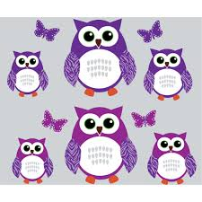 Purple And Green Owl Wall Decals With Butterflies Wall Decor For Girls Bedrooms