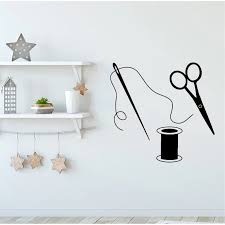 Scissors Wall Stickers Sewing Tailor Wall Decals For Fabric Sewing Room Removable Vinyl Art Mural Home Decor Wall Stickers Aliexpress